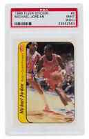 Michael Jordan 1986 Fleer #8 Chicago Bulls Sticker Rookie Card PSA MT 9(OC)