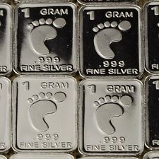 """Footpad"" Design. Lot of 10, 1 gram silver bullion .999 Fine silver bar. NEW"