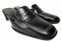 Cole Haan women's size 6.5 B black leather loafers slip on no back shoes med hee