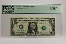 $1 Frn 1995 I *Star* Low Repeater #00004141* Pcgs 64 Ppq! Choice New-Rare!