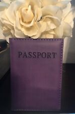 Passport Travel Wallet Holder Cover Case up Leather Purple Standard Size.