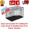 """Dog Crate Kennel 48"""" Folding Pet Cage Metal XL Double Door Tray Pan W/ Divider"""