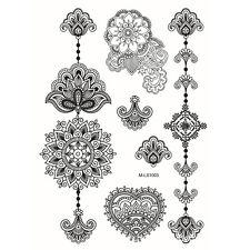 1 Blatt Tattoo Körpertattoo Aufkleber Hauttattoo Wasserfest Lace Blumen Design