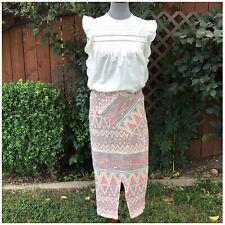 Free People Aztec Print Midi Skirt Size Medium New