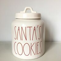 New Rae Dunn White & Red SANTA'S COOKIES Christmas 2018 LL Large Letter Canister
