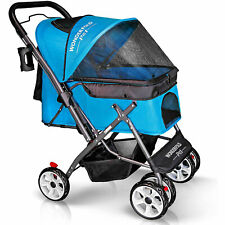 Wonderfold Folding Pet Stroller for Dogs and Cats, Aqua Blue (Open Box)