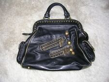 Betsey Johnson Rockin Cherries Black Leather Handbag Purse VINTAGE
