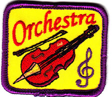 """ORCHESTRA"" PATCH w/VIOLIN & MUSIC NOTE- Iron On Applique/Rock N'Roll, Jazz"