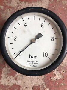 Budenberg Pressure Gauge 10 bar Broadheath Manchester Steam Punk Ex MOD