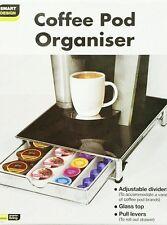 SMART Design NUOVO impilabile Caffè Pod & Capsula Cassetto/organizer con piano in vetro