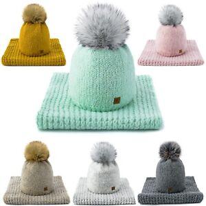 Set Scarf & Hat Women Winter Wool Knitted Beanie Hat Fleece Hats Pom Pom Worm