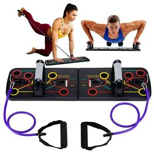 12-in-1 Push Up Board System -Adjustable Handles and Resistance Bands