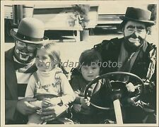 Two Kids Sits with Rodeo Clowns Original Photo