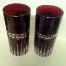 2 Ruby Cased Cut 2Clear Highball Glasses Tumblers Cooler Bohemian Chrystal Item2