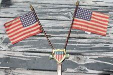 Original 1940' s Vintage ww2 US Flag License plate topper Emblem  Rat Hot rod