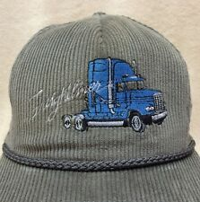 Freightliner Corduroy SnapBack Trucker Hat Gray Embroidered Blue Conventional