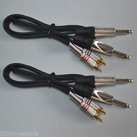 Stereo Interconnect Dual 1/4 in TS to RCA male connector 6ft Cable 2PACK