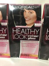 3 X L'Oreal Healthy Look Creme Gloss Hair Color Rich Black/Double Espresso #1.