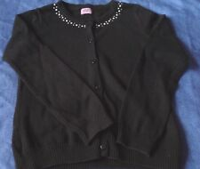 Girls black cardigan with embellishments around neckline - age 7 - 8 years