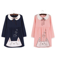 New Kawaii Cat Embroidery Peter Pan Collar Shirt  Long Sleeve One Piece Dress