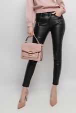Women's wet leather look Stretchy skinny Jeans Trousers Black Sizes UK 4-12