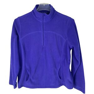 Tek Gear Womens XL Purple Pullover Jacket 1/4 Zip Fleece Kangaroo Pocket