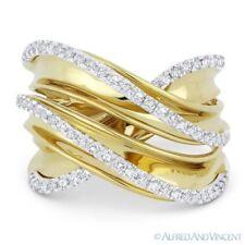 White Gold Right-Hand Overlap Fashion Ring 0.52ct Round Cut Diamond 14k Yellow &