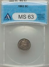 1862 H10C Liberty Seated Half Dime ANACS MS63.