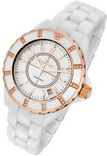 Rougois Women's High Tech White Ceramic Watch Rose Gold Tone & Genuine Diamonds