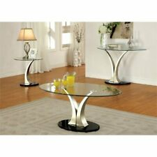 Furniture of America Mansa 3-Piece Glass Top Coffee Table Set in Satin Plated