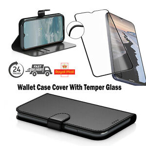 Free Temper Glass With Leather Flip Black Wallet Case Cover For Nokia G10/G20 UK