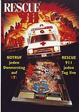 Gottlieb RESCUE 911 Original 1994 NOS German Arcade Pinball Machine Sales Flyer