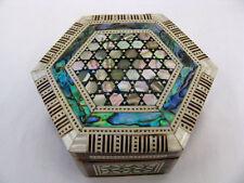 Egyptian Mother of Pearl Inlaid Paua Hexagonal Jewelry Box #138
