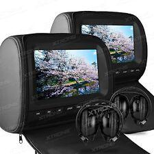 "2x 9"" Car Headrest DVD Player Monitor Pillow Game Disc IR Headsets FM USB SD"