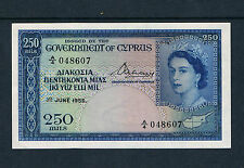 CYPRUS BANKNOTE 250 P33a 1955 about AU a quality example Series A/4