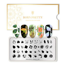 BORN PRETTY Nail Art Stamping Plate Leaves Rectangle Template Overprint-L002