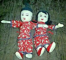 2 Vtg Cloth Dolls HONG KONG Chinese Boy Girl Stitched Face Souvenir Costume