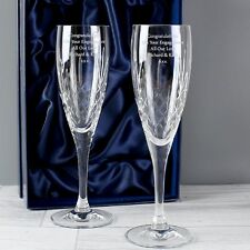 Personalised Crystal Flute Set Engraved Glass Birthday Wedding Anniversary Gift