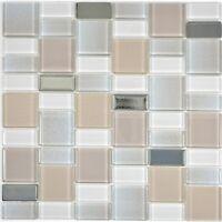 Glasmosaik beige Fliesenspiegel Küche Wandverkleidung Bad 68-0136P | 10 Matten