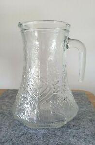 Vintage Water Jug Pitcher Heavy Textured Art Glass Scandinavian Style Trees