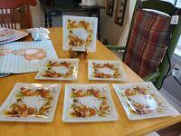 "Pfaltzgraff 6""×6"" Canape Appetizer Glass Plates Plymouth Set of 6 EUC"