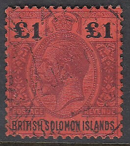 SOLOMON IS. 1914 £1 purple and black on red - 12855