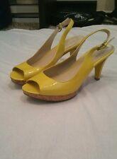 NINE WEST Yellow Patent Open Toe Heels Size 8.5 Pair Shoes Women's