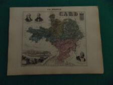 GARD CARTE ATLAS MIGEON Edition 1885, Carte + fiche descriptive
