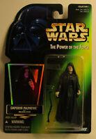1996 Kenner Star Wars Emperor Palpatine POTF 2 (.00 Var.) Green Card Figure MOC