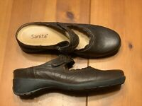 Sanita Mary Jane Women's Size 38 US 8 Brown Leather Strap Mule Comfort Shoes