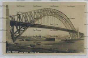 Australia postcard RMS Mooltan P&O Line Sydney harbour Bridge 1930s NSW 236