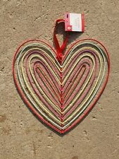 11 Inch Multicolor Coated Metal Heart Shaped Hanging Card & Photo Holder Nwt