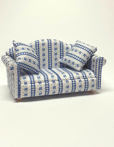 DOLLS HOUSE 1/12 SCALE BLUE AND WHITE FLORAL STRIPED SOFA