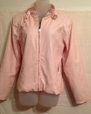 KC Collection Women's Sz M Jacket Coat Pale Pink Faux Leather Zip Front